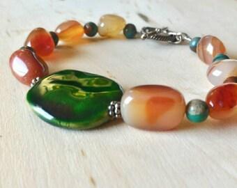 Kazuri Bracelet, Carnelian Bracelet, Sterling Silver Bracelet, Toggle Clasp Bracelet, Gemstone Bracelet,Gift for Her,Japser Bracelet