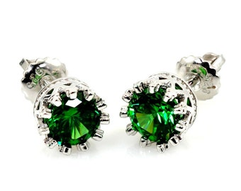 Emerald Studs. 6mm 1ct Crown Style Screw Backs .925 STERLING SILVER.
