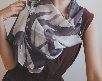 Hand Painted long Silk scarf, aubergine and white