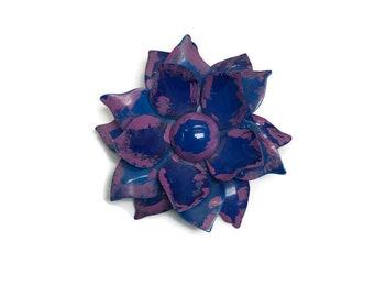 Blue and Purple Flower Brooch, 1960s Enamel Flower Brooch, Mod Flower Pin, Flower Power Brooch, Costume Jewelry