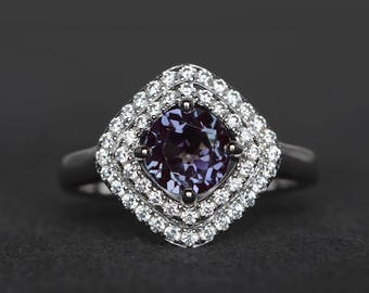 halo ring June birthstone ring lab alexandrite ring wedding ring round cut color change gemstone ring sterling silver