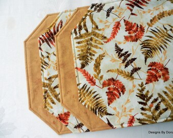 One or More Placemats, Quilted, Reversible, Fall Fern Leaves on a Creamy Background, Handmade Table Linens