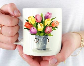 Tulip Mug - Tulip Lover Gift - Tulips Floral Coffee Mug - Unique Tulip Gifts