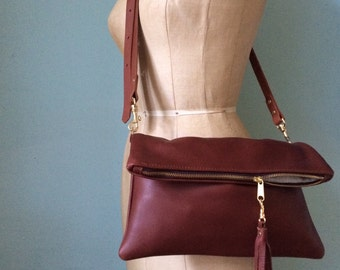 Brown leather clutch, leather purse, tan leather evening handbag