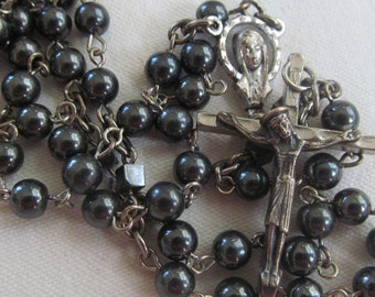 vintage Hematite sterling silver black rosary ITALY