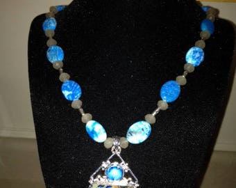 Aqua Terra Jasper Sky-Medium Blue and Grey Pendant with Blue Agate Beaded Necklace