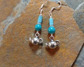 Blue Tea Kettle Sterling Silver Earrings, Tea Kettle Earrings, Blue Tea Sterling Earrings, Blue Tea Earrings