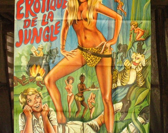 Original 1970 vintage Movie Poster, oversized! Le Livre Érotique de la Jungle