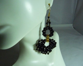 Boxy black and Gold dangle earrings