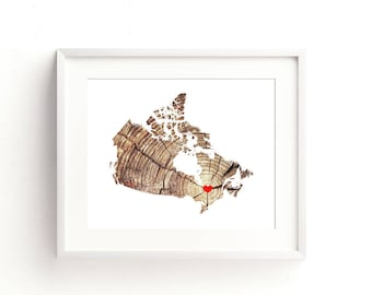 Canada Art Print Canadian - Custom Personalized Heart Print - Custom location - Hometown Wall Art Gift Souvenir Mission