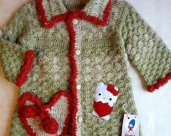 baby girl sweater  green baby cardigan, EXPRESS  SHIPPING ,   Hand Crochet Sweater, Children's Sweater, Children's cardigan, girl sweater