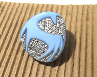 Czech HORSE Button Art Deco Style Horse VINTAGE Czech Glass Button One (1) Blue Czech Glass Mod Horse Vintage Button Jewelry Supply (Y324)