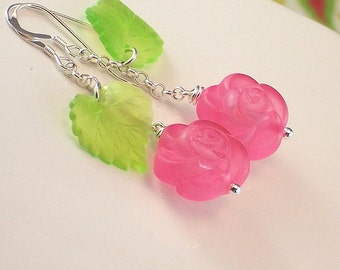 Vintage Pink Flower And Green Leaf Sterling Silver Earrings - Pink Garden - Handmade Feminin Fashion