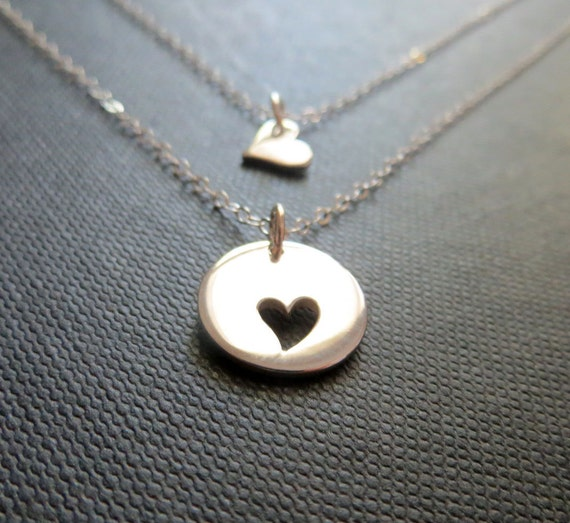 Mother daughter jewelry mother daughter necklace 2 mother daughter jewelry mother daughter necklace 2 delicate sterling silver heart necklaces mother child jewelry mothers day gift aloadofball Image collections