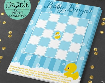 Rubber Ducky Baby Shower Game, Bingo Cards, Rub a dub dub, Baby Shower Printable, rubber duck, yellow ducks, DIY, INSTANT DOWNLOAD #4986