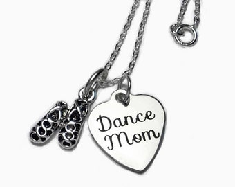 """Dance Mom or Dance Mum Necklace with Irish or Highland Dance Ghillies on 18"""" Sterling Silver Cable Chain Gift Boxed"""