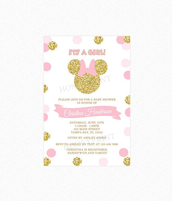 Pink and gold minnie mouse baby shower invitation gold minnie filmwisefo