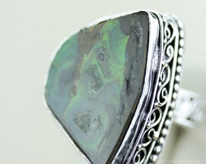 Size 9 GENUINE CANADIAN AMMOLITE (Nickel Free) 925 Fine S0LID Sterling Silver Ring & Free Worldwide Express Shipping r1644