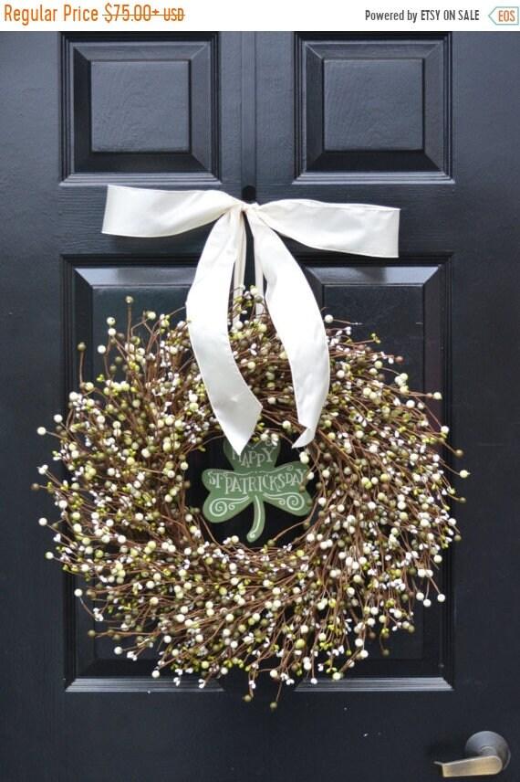 SPRING WREATH SALE St Patricks Day Wreath, Spring Decorations, Green Cream Berries, Berry Wreath, Spring Wreath, Easter Decor, Front Door De
