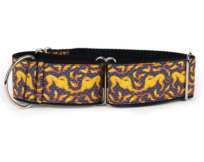 "Greyhound Dog Collar - Slate and Gold Art Nouveau- 2"" Martingale Dog Collar (AN-Slate/Gold)"