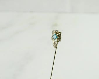 Antique Stick Pin with Light Blue Stone 10K White Gold