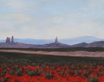 Southwestern Red Desert, Original Landscape, Desert Painting, 18 X 24, by Foust