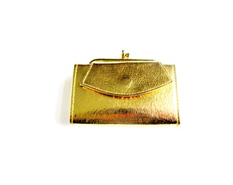 Vintage Change Purse Gold Crinkled Foux Leather Opens To Hold Bills Billfold Gift Collectible  Item 1886F2