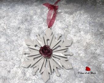 Snowflake Christmas 1 gray and pink plum