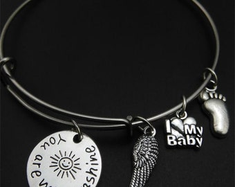 You are my Sunshine Bracelet, Angel Wing, I love my baby, baby foot, bangle bracelet, you are my sunshine, Christmas, Stocking Stuffer