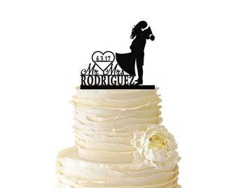 Mr. and Mrs. Military Couple Personalized With Name and Date - Wedding - Anniversary -  Standard Acrylic or Baltic Birch Cake Topper - 095