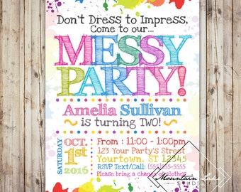 Custom Rainbow Art Paint Messy  Party Invitation Printable | Customized Printable File | Child's First Second Third Birthday Invite