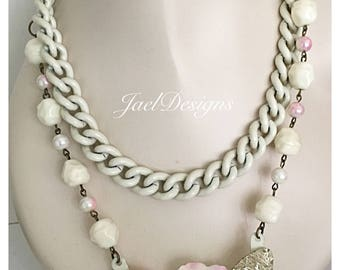Statement Necklace - Vintage Enamel Chain, Lucite Earrings, Enamel Flower - Upcycled - One of a Kind - Pink, Off White