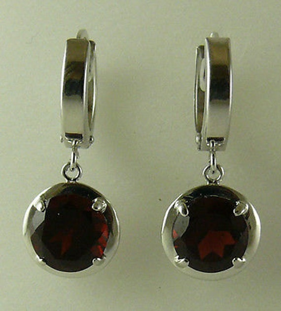 Garnet 4.27ct Earring 14k White Gold