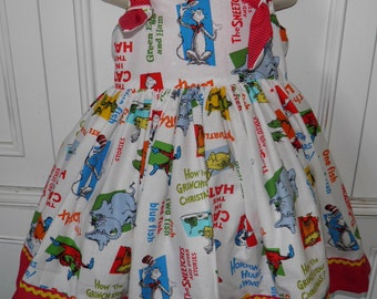 Dr. Seuss Boutique Dress Size 2T 3T 4T 5 6 Lorax Cat in the Hat One Fish Two Fish