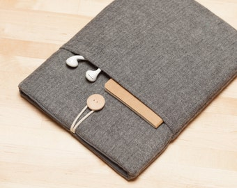 "Macbook 12 inch case sleeve / MacBook sleeve, Custom laptop sleeve, 12"" laptop case, plain - Frannel grey"