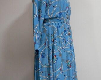 Abe Schrader Designer Dress Long Sleeve Modest Ladies Calf Length Belt Shirtwaist Pleated Skirt Blue Polyester Nautical Maritime Print 1980s