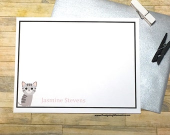 Gray Kitten Cat Lady Cards - Kitten Note Cards - Personalized Cat Stationary - Custom Kitty Stationery - Pet Lovers Cards DM180
