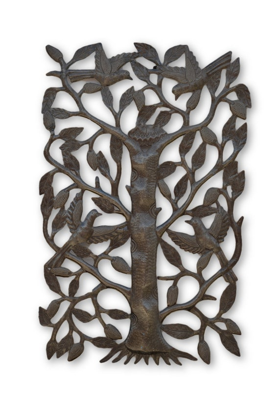 Birds From A Nest  Tree,  Reclaimed Quality Metal Sculpture, One-of-a-Kind Art 21.5 x 13.5