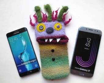"Smartphone monster ""Albert"", felted, cellphone case, sleeve, samsung Galaxy J7, S8 +, Samsung Galaxy S 6 Edge Plus, mobile phone monster, felt, wool"