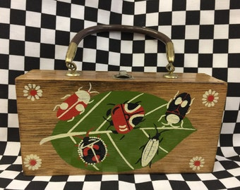 Wood Box Purse by Simon Lady Bugs Made in Japan