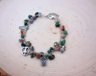 Boho charm bracelet | Owl bracelet | Elephant bracelet | Peace bracelet | Gemstone bracelet | Gemstone jewelry | Boho jewelry | Boho gift