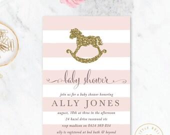 Rocking Horse Baby Shower Invitation / Girl Baby Shower Invitation / Printable Baby Shower Invite / Pink
