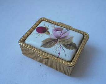 stunning small French vintage metal pill box / trinket box collectable