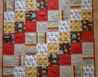 Handmade Baby Quilt, Handmade Baby Blanket, Toddler, Tummy Time Quilt, Animal Print
