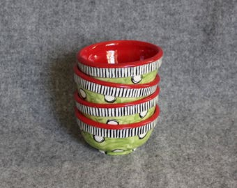 Christmas Mini Bowls, Teacher Appreciation, Polka Dots, Stripes, Food prep bowls, dip bowls, jewelry dish, wedding, bright fun colors