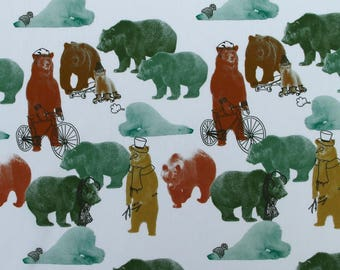 C366 - 140cmx100cm  Cotton Poplin Fabric - Animal - Acrobatics bear