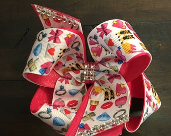 Pink and white emoji double layered bow