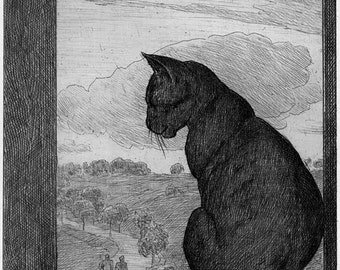 The Cat ~ Hans Thoma - German artist ~ca 1860 ~  Cat at window ~ Cat and landscape ~ Contemplative Cat ~ Charcoal ~ Pensive Cat ~ Cat art