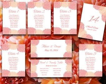 Wedding Seating Chart Template   Chrysanthemum Peach Beach Coral Orange Microsoft Word Template Table Number Card Wedding Download