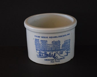Grommes & Ullrich Fine Foods Crock Light Gray Stoneware Chicago 1866